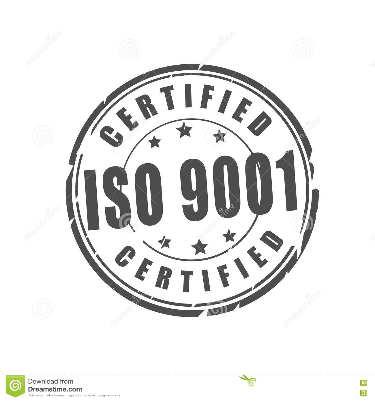 ISO 9001 Certified Vector Illustration Stamp