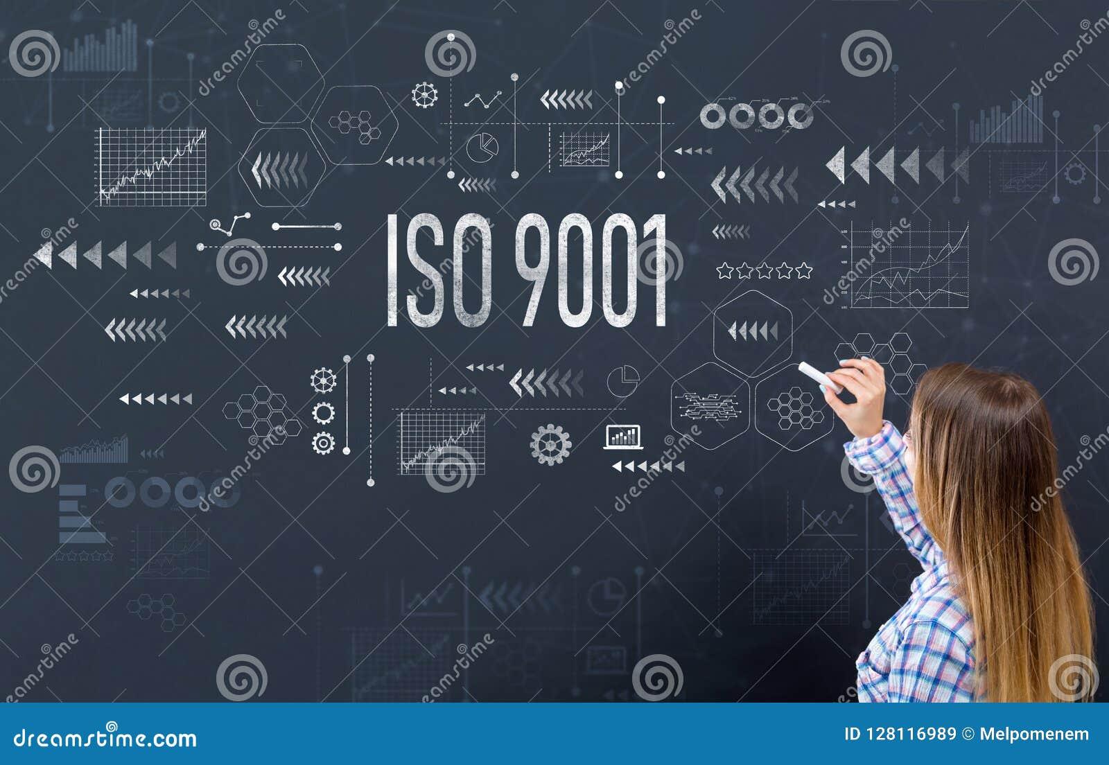 ISO 9001 con la mujer joven