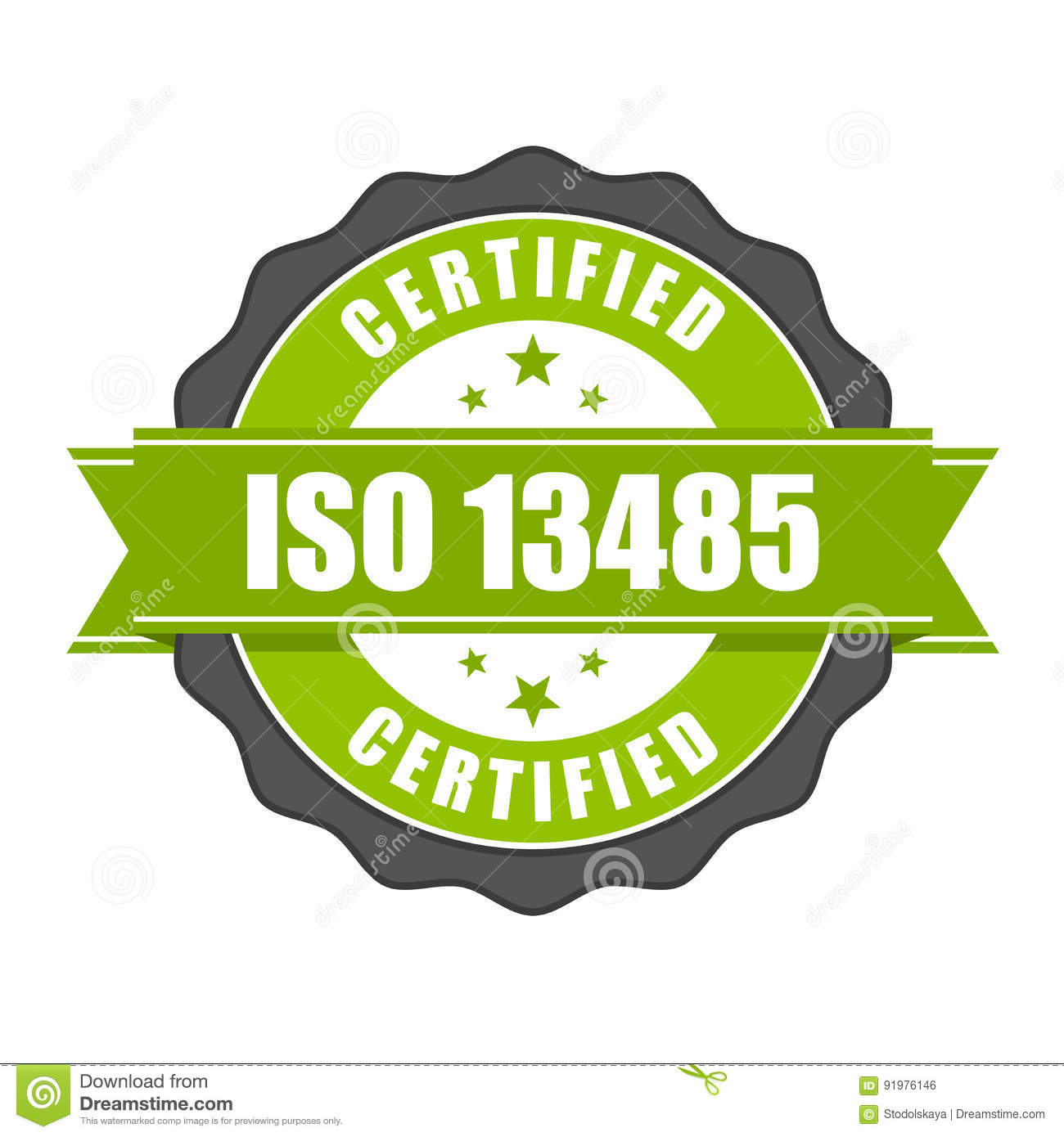 Iso 13485 Standard Certificate Badge Medical Devices Stock Vector