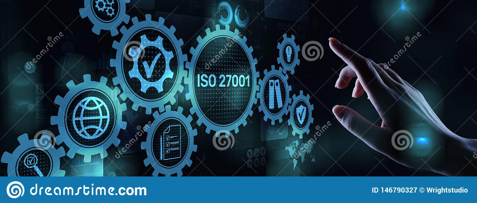 Iso 27001 Standard Standardisation Certification Customer guarantee and satisfaction Business concept on virtual screen.