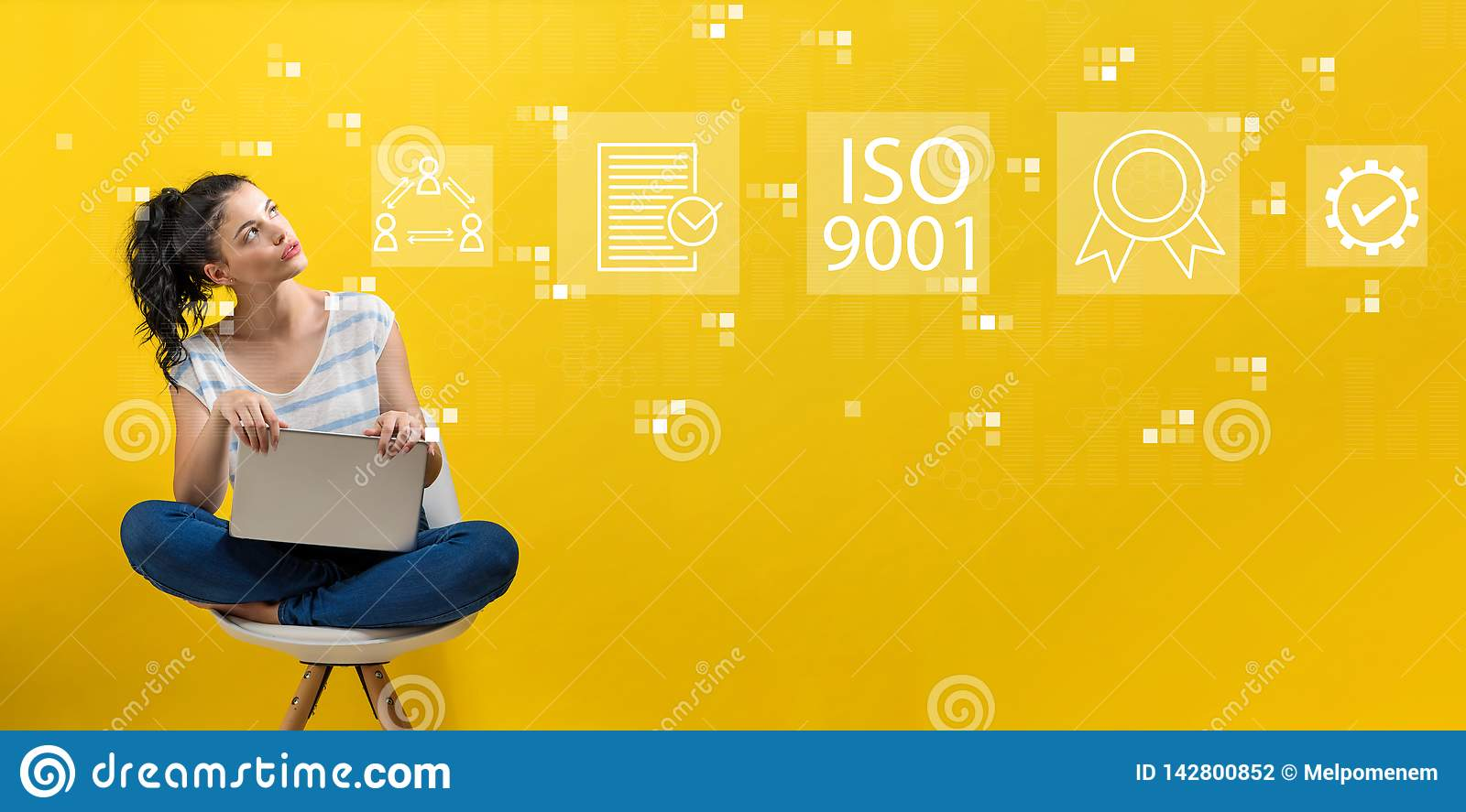 ISO 9001 with woman using a laptop