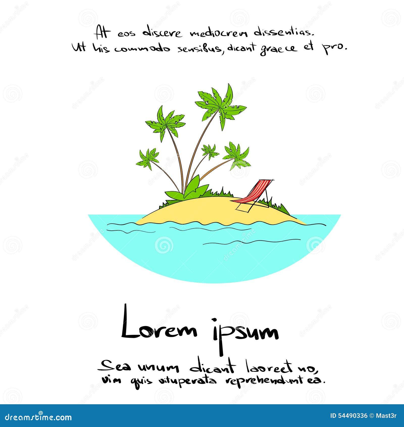 Isola Banaba tropicale Logo Hand di vacanze estive