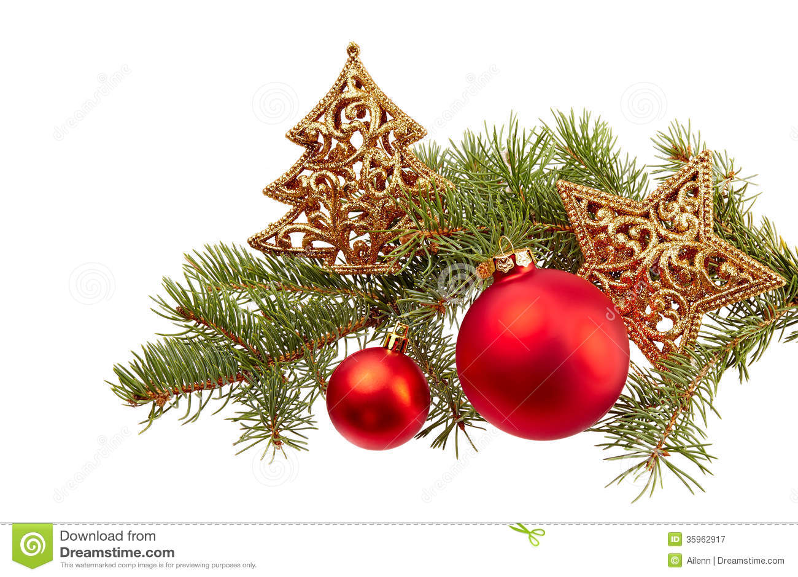 Isola de la decoración de la Navidad (rama del abeto, bola de la Navidad, estrella del oro)