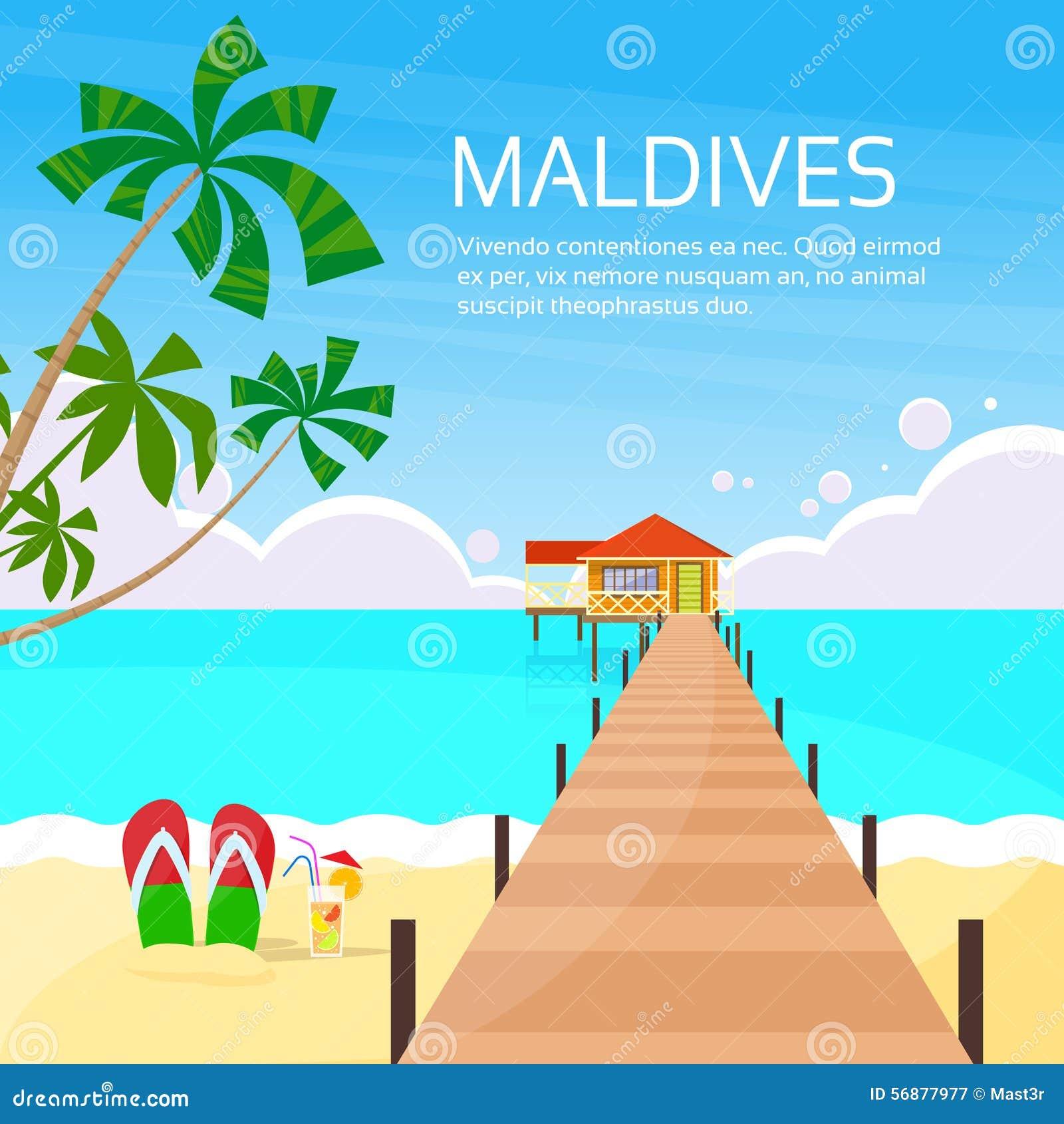 Isola tropicale Pier Summer Vacation lungo delle Maldive
