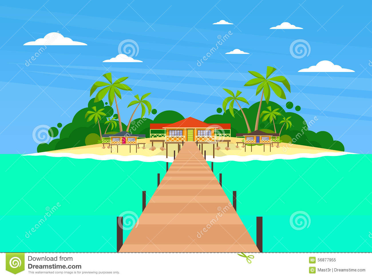 Isola tropicale Pier Summer Vacation Paradise lungo