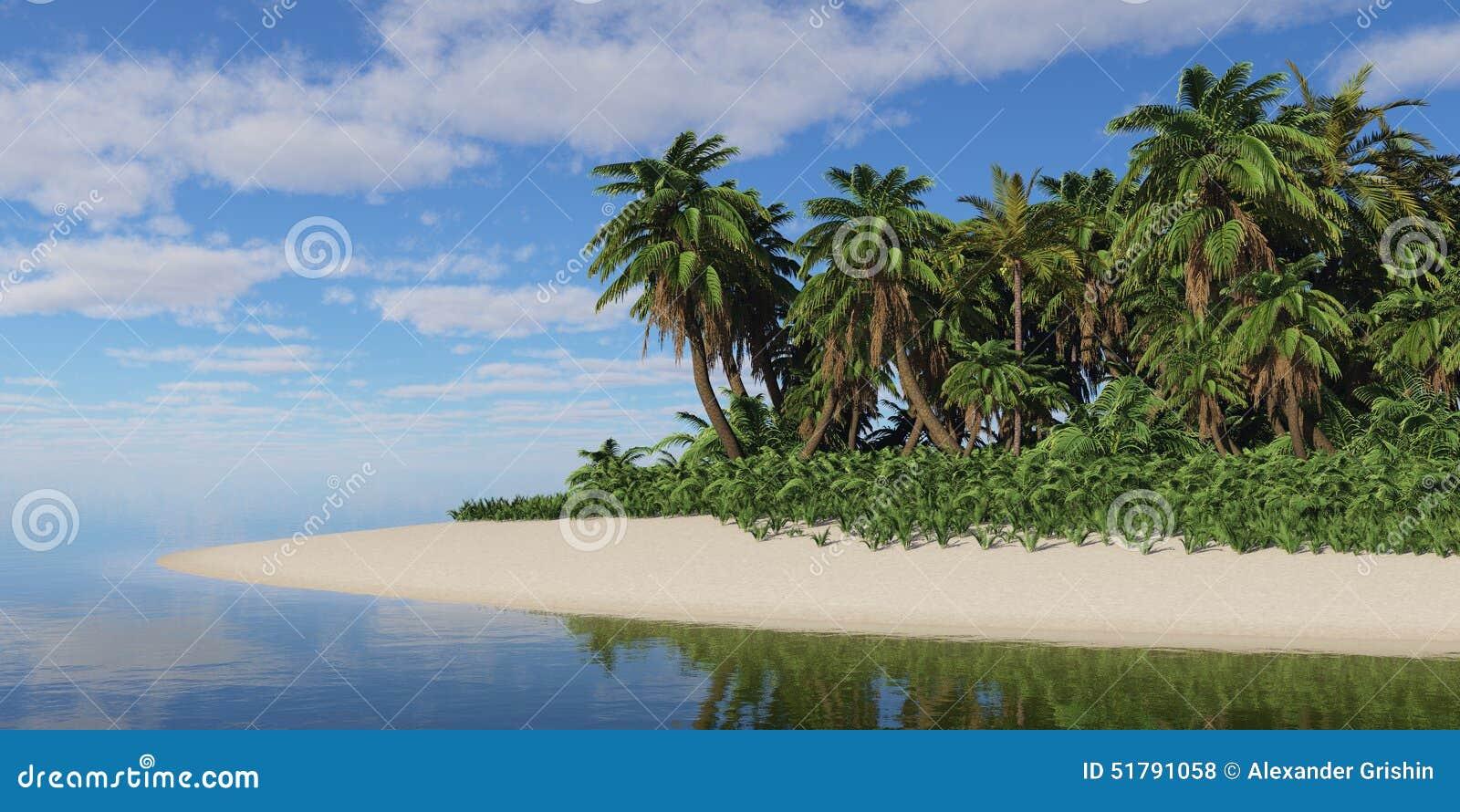 Isola tropicale sotto un cielo nuvoloso illustrazione di for Alexander isola