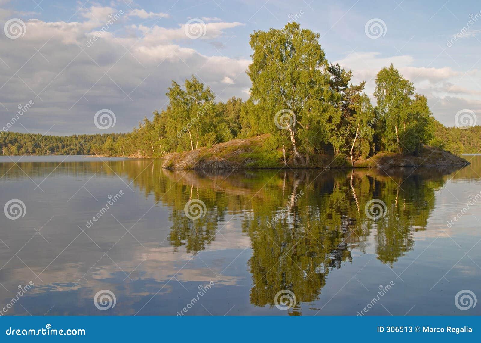 Isola in un lago svedese