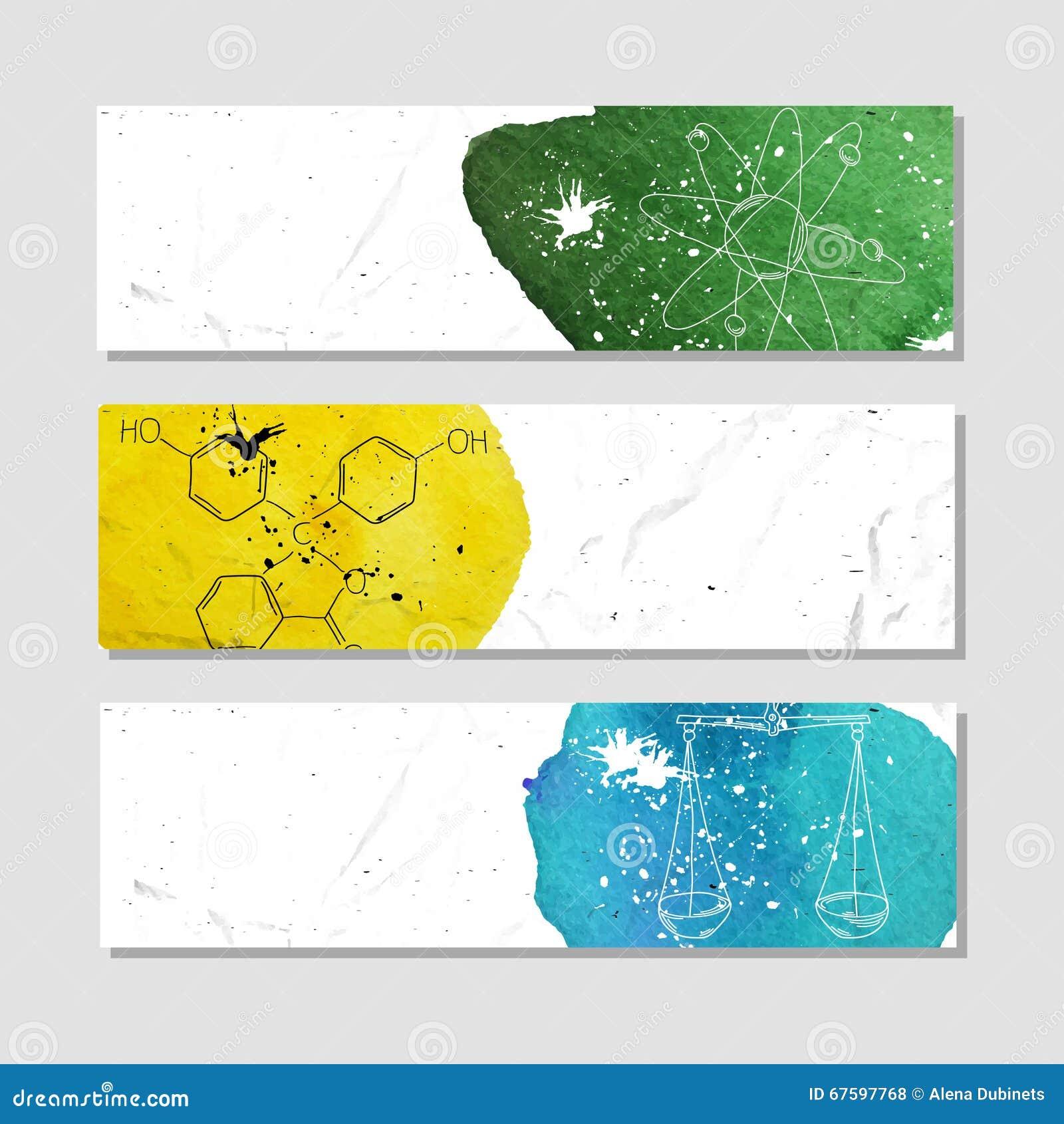 Isolado anunciar a bandeira no estilo de papel com aquarela colorida mancha Os atributos de experiências científicas na química