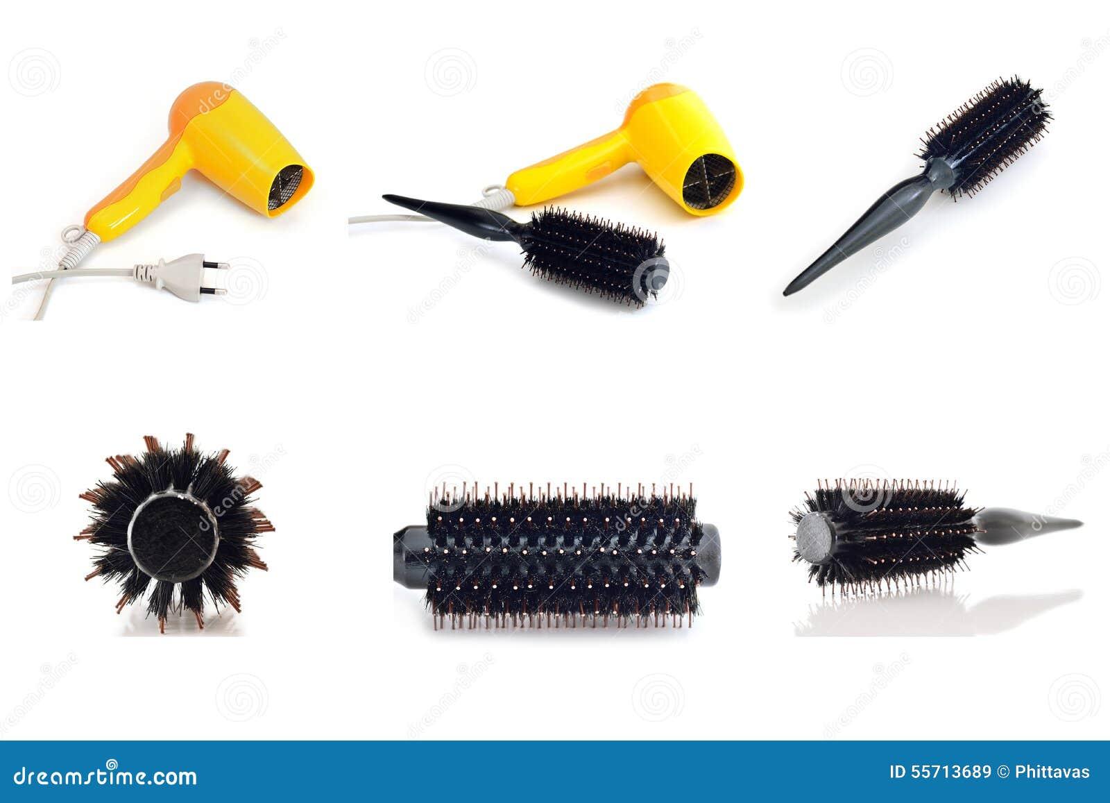 Isolado da escova do secador e do pente de cabelo da coleção no fundo branco
