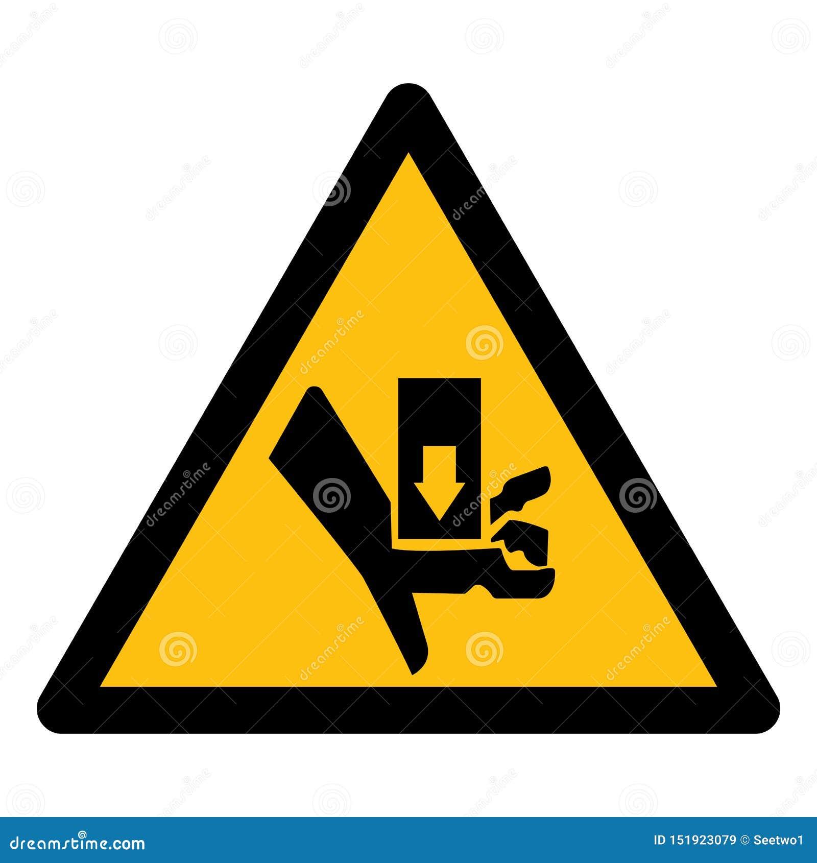 Isolado de advertência do sinal do símbolo do esmagamento e do corte da parte movente no fundo branco, ilustração EPS do vetor 10