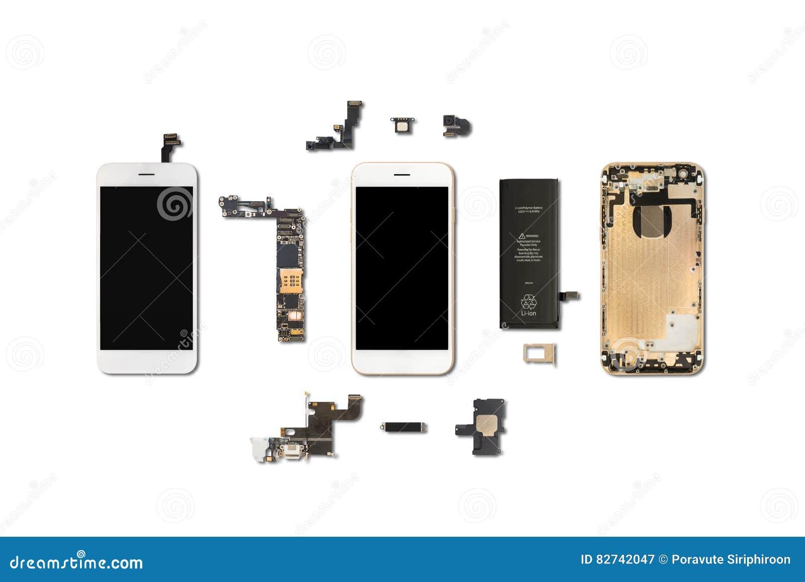 Isolado dos componentes de Smartphone no branco