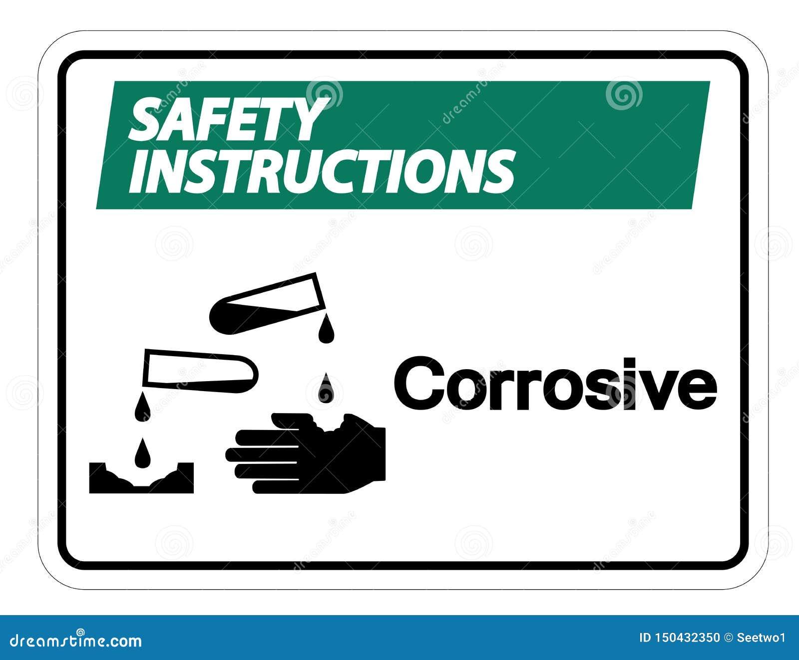 Isolat corrosif de signe de symbole d instructions de sécurité sur le fond blanc, illustration de vecteur