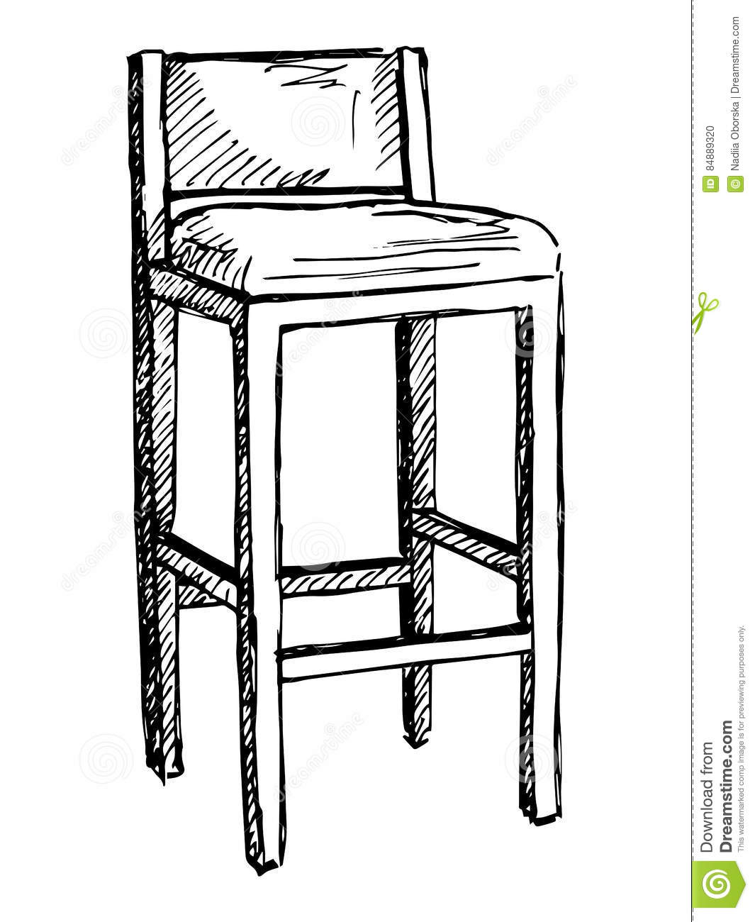 Barre Sur Le Illustration Vecteur Chaise Isolat De Blanc Fond 9HeD2EWYI