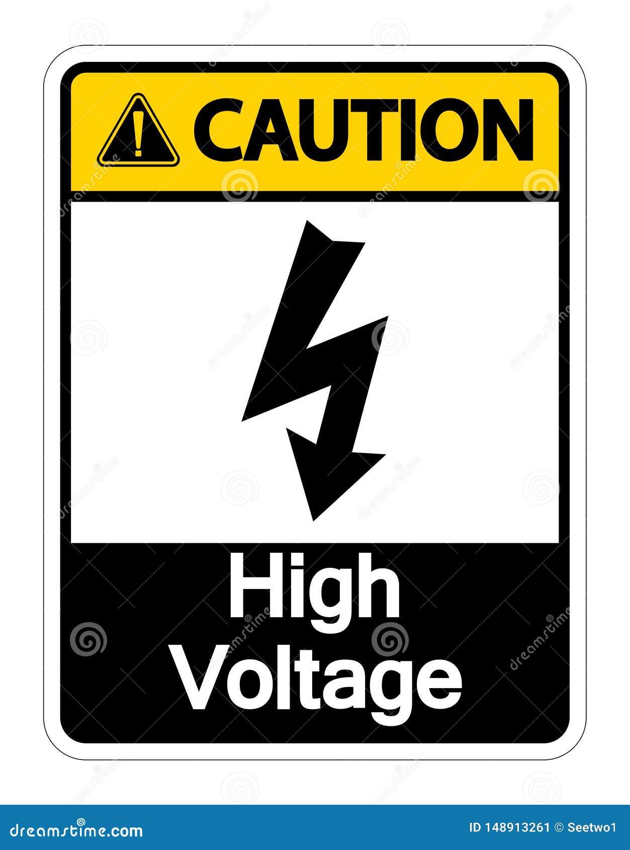 Isolat ? haute tension d isolat de signe de pr?caution sur le fond blanc, illustration de vecteur