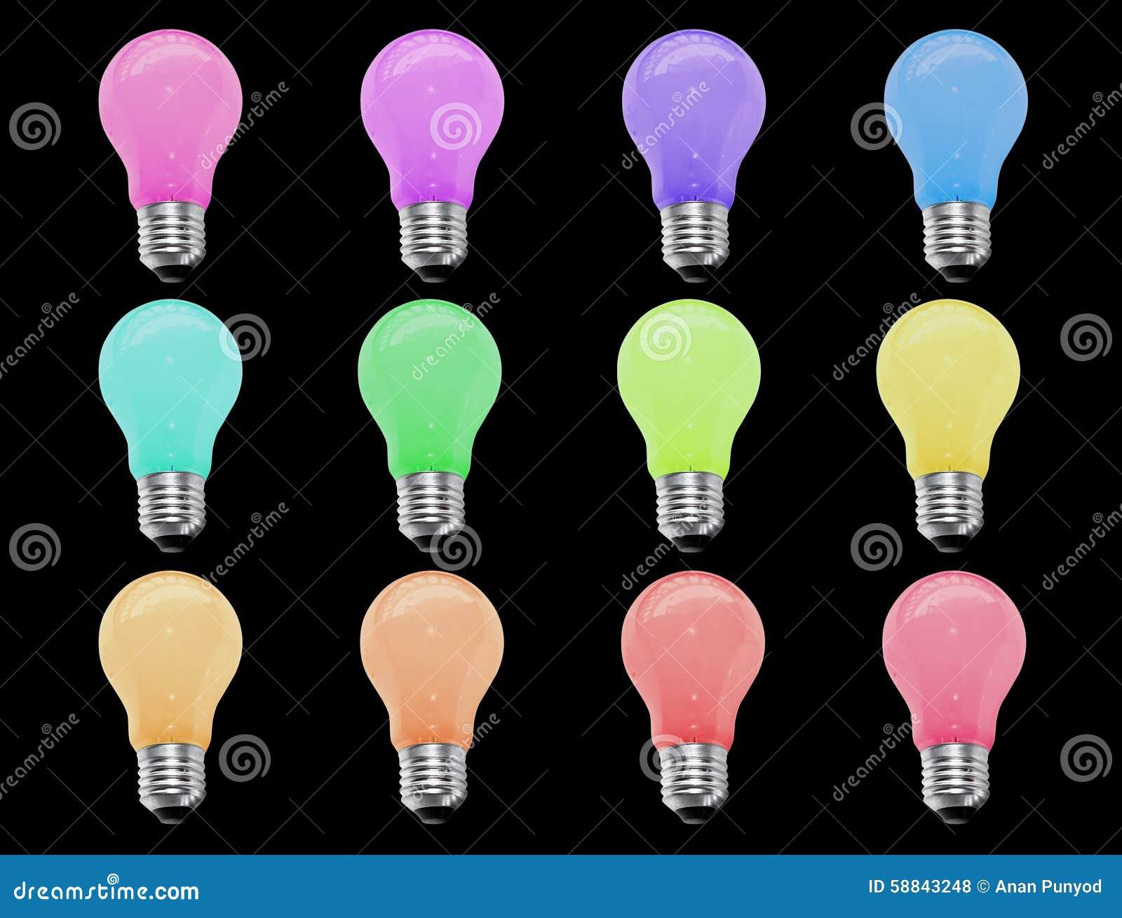 isolat incandescent de couleur de l 39 ampoule 12 sur le fond noir photo stock image 58843248. Black Bedroom Furniture Sets. Home Design Ideas