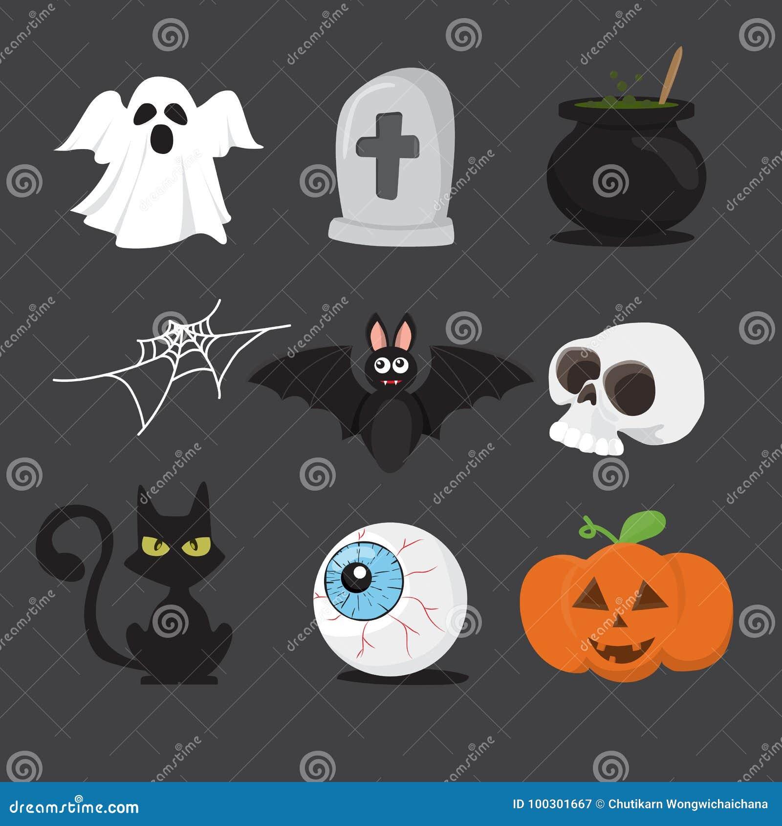 Isolat réglé d icône de Halloween sur le fond blanc Illustra de vecteur