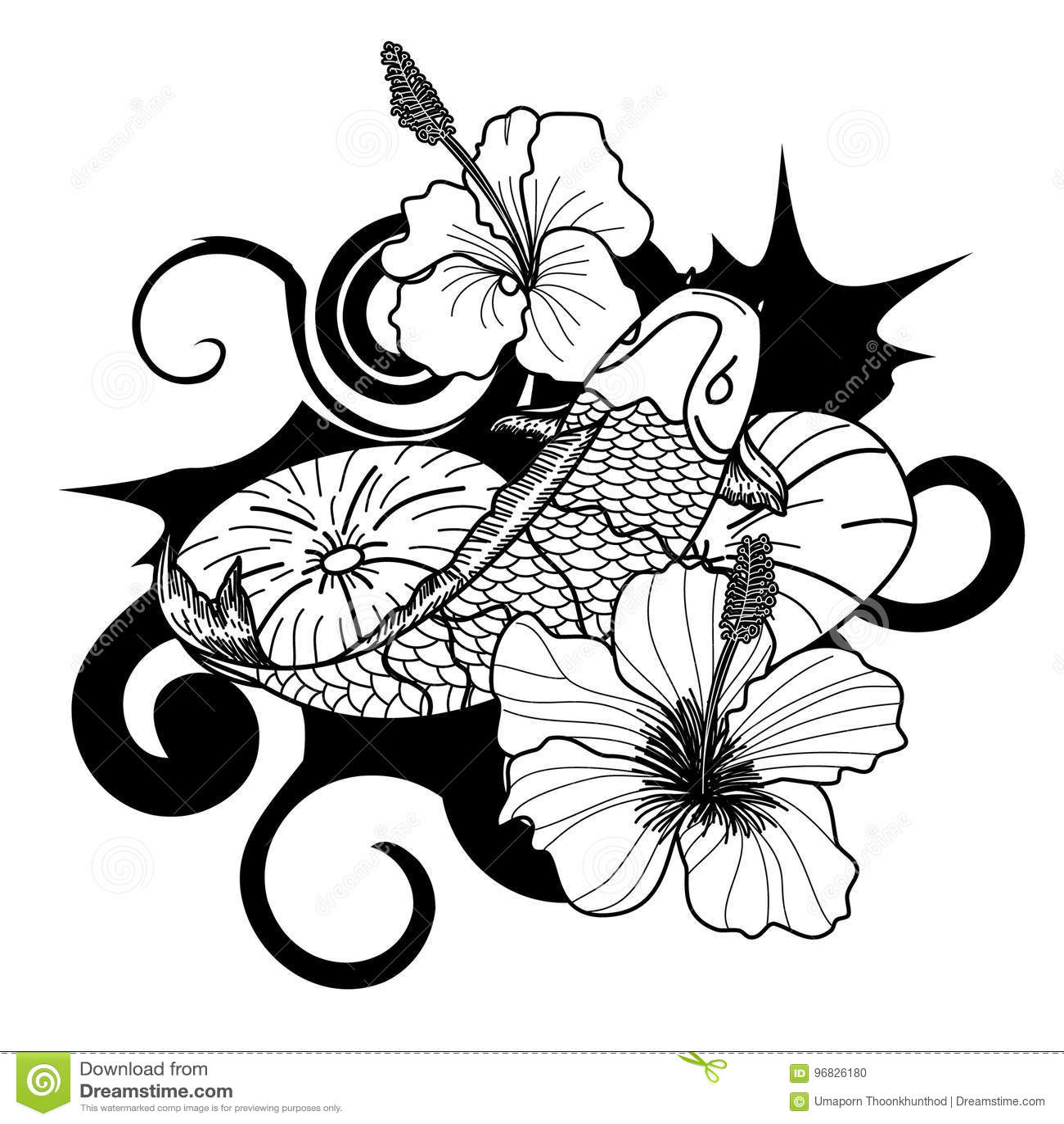 Isolat Tire Par La Main De Style De Tatouage De Japonais De Poissons