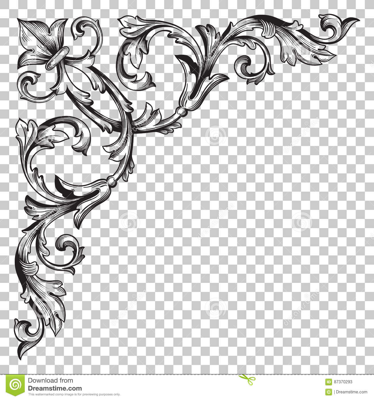 Isolate Corner Ornament In Baroque Style Stock Vector ... Барокко Орнамент
