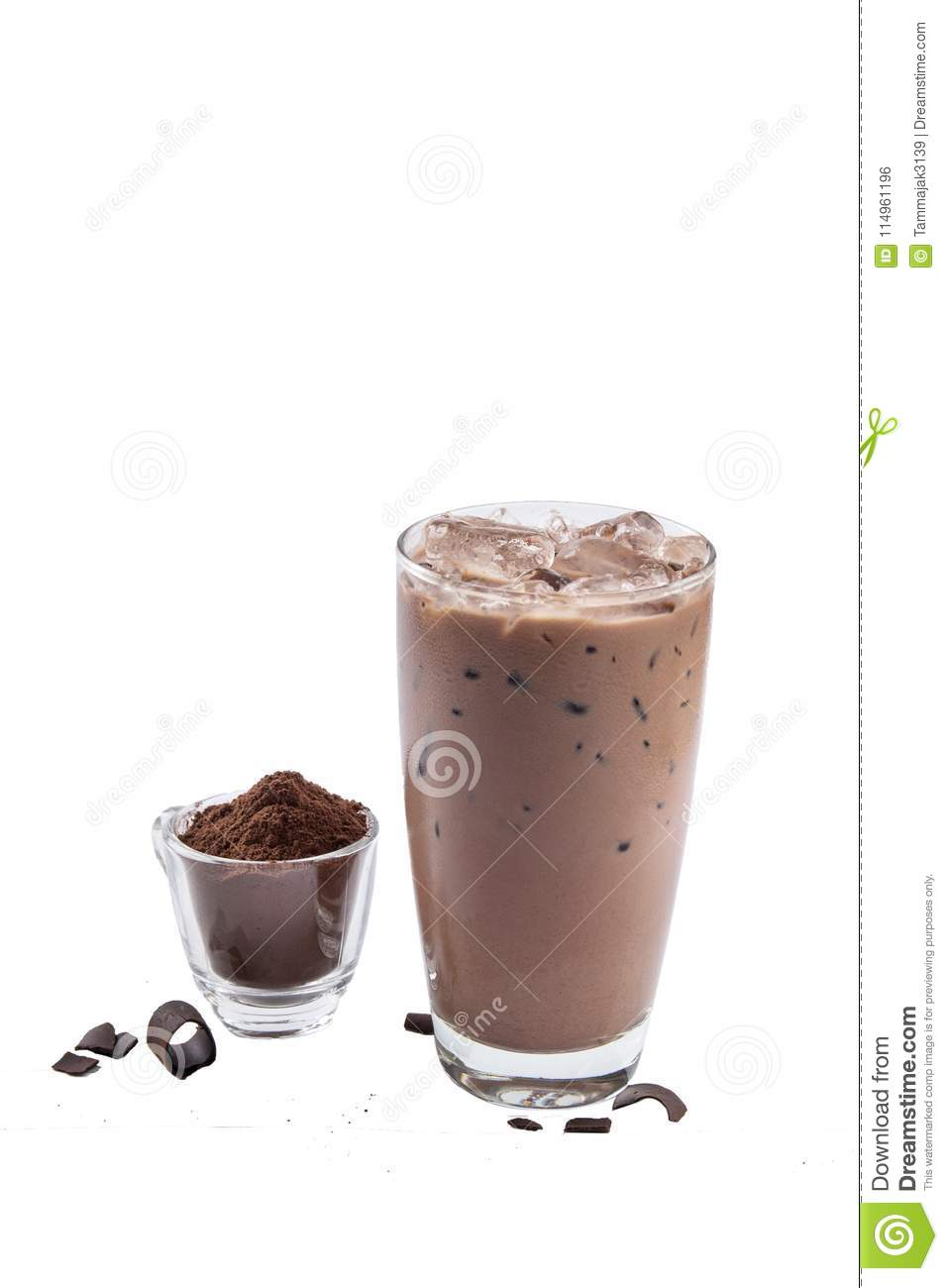 Isolate Iced Chocolate glass on white background with crushed co