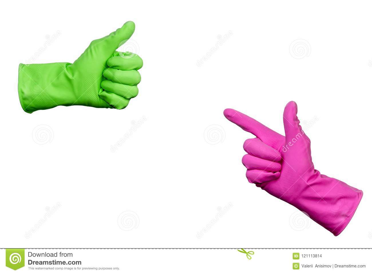 Green Cleaning Supplies With Rubber Gloves Royalty Free