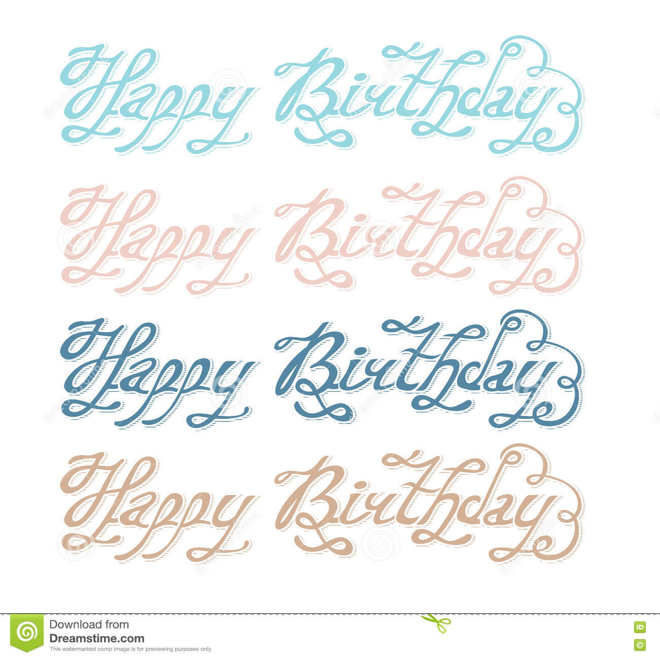 Isolated Abstract Colorful Happy Birthday Writing Set