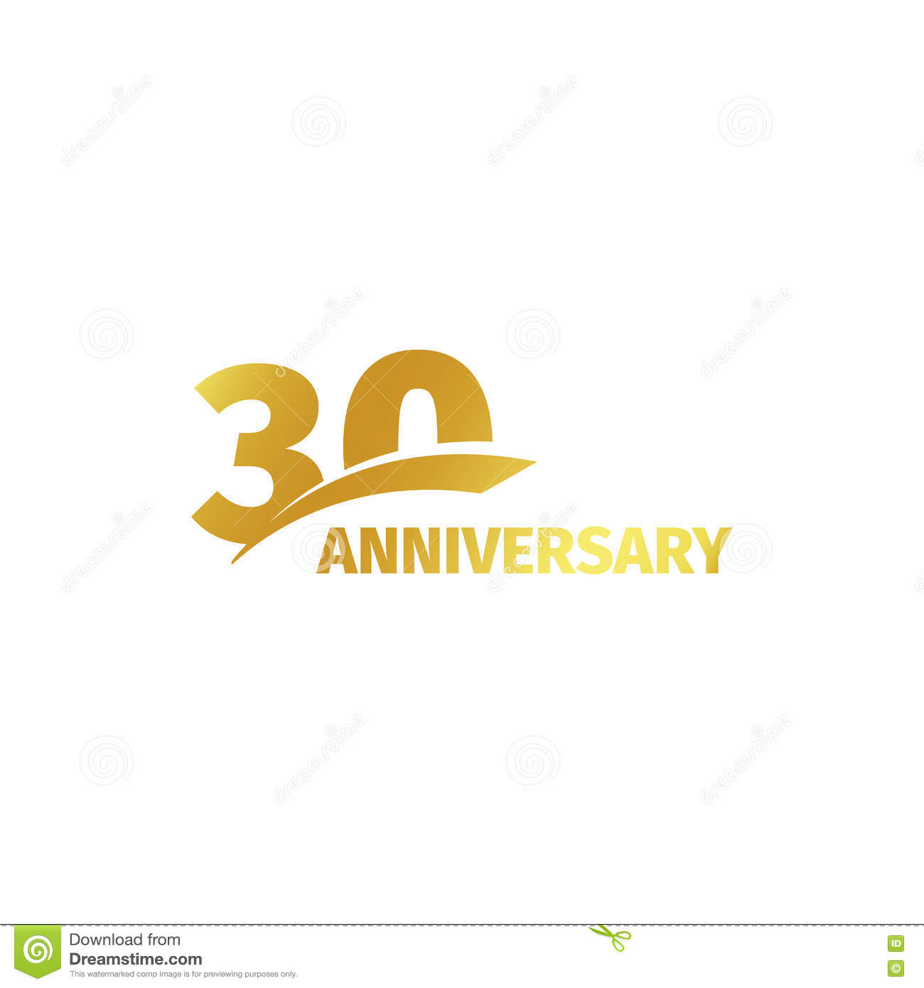 Isolated Abstract Golden 30th Anniversary Logo On White Background