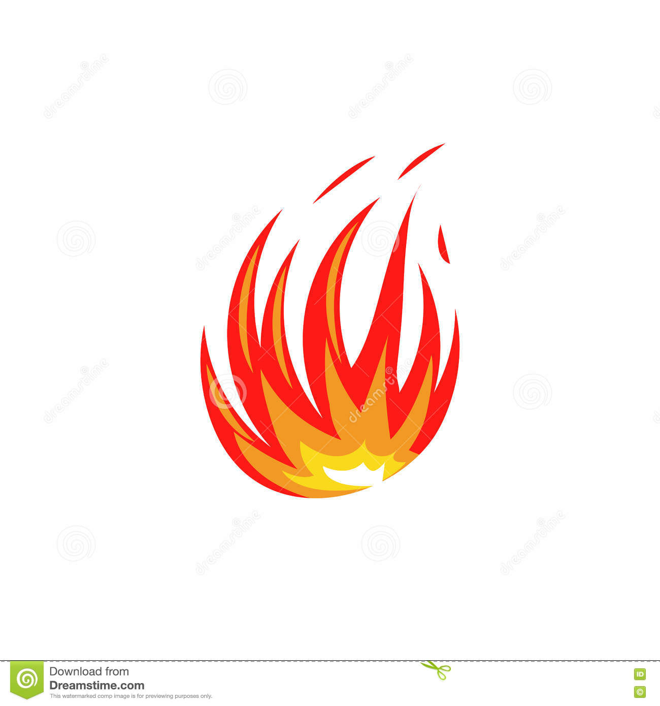 Isolated Abstract Red And Orange Color Fire Flame Logo On White