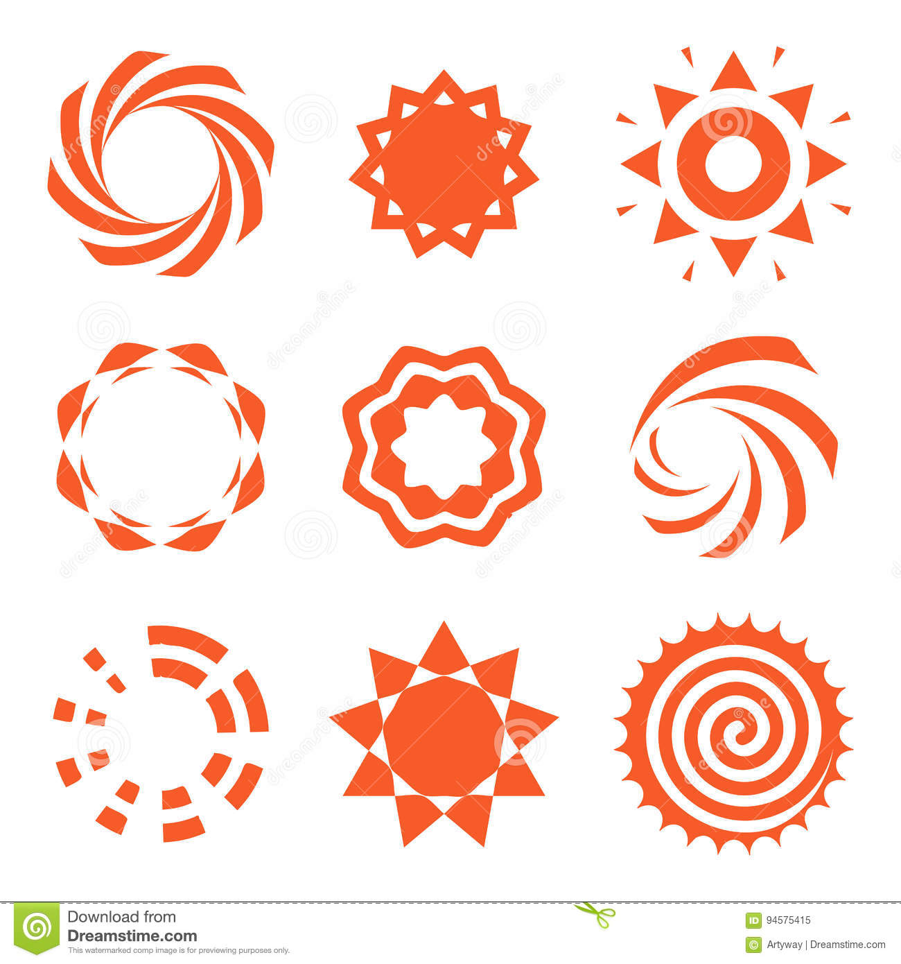 Isolated Abstract Round Shape Orange Color Logo Collection