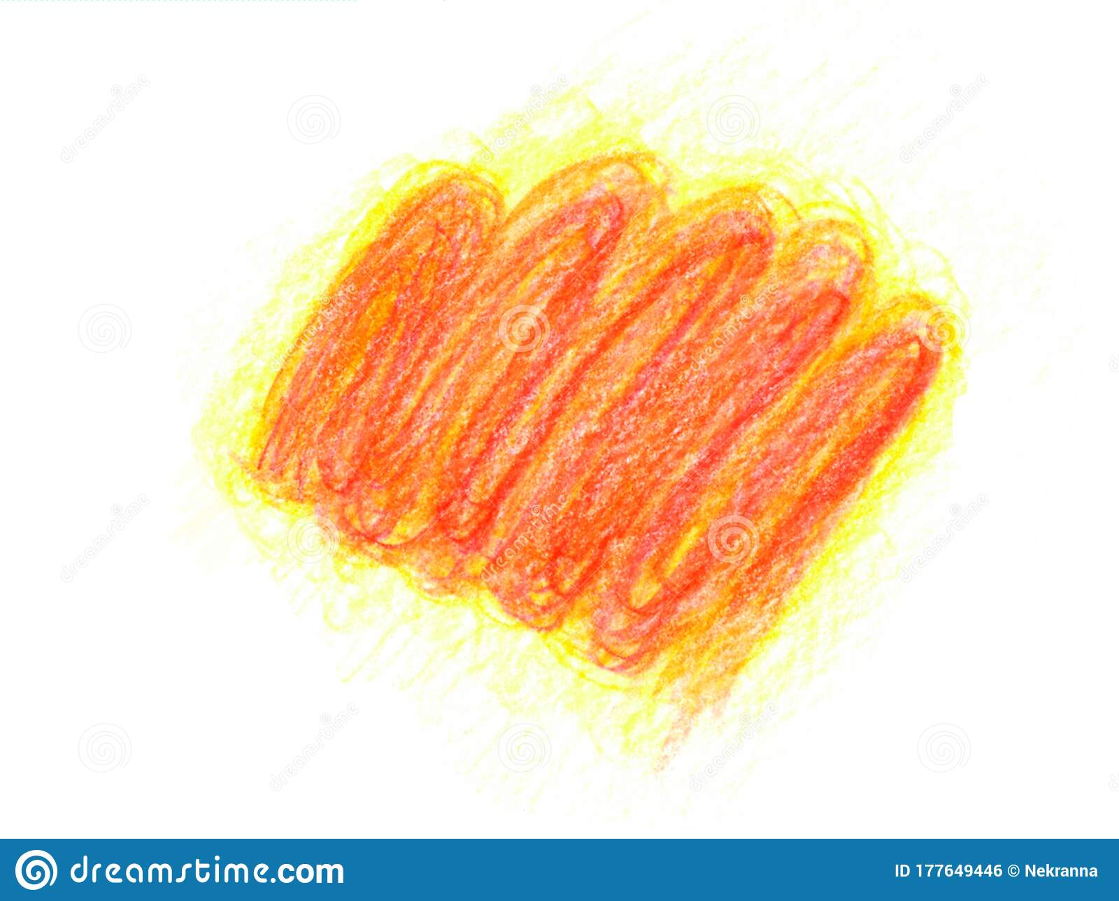 Isolated Abstract Spot Blot Of Fire Red Yellow Orange Color White Background Hand Drawn With Colored Pencil Oil Pastels Stock Illustration Illustration Of Shape Orange 177649446
