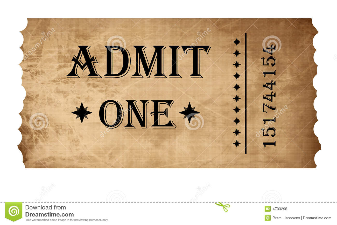 Isolated Admit One Ticket Royalty Free Stock Photos - Image: 4733298
