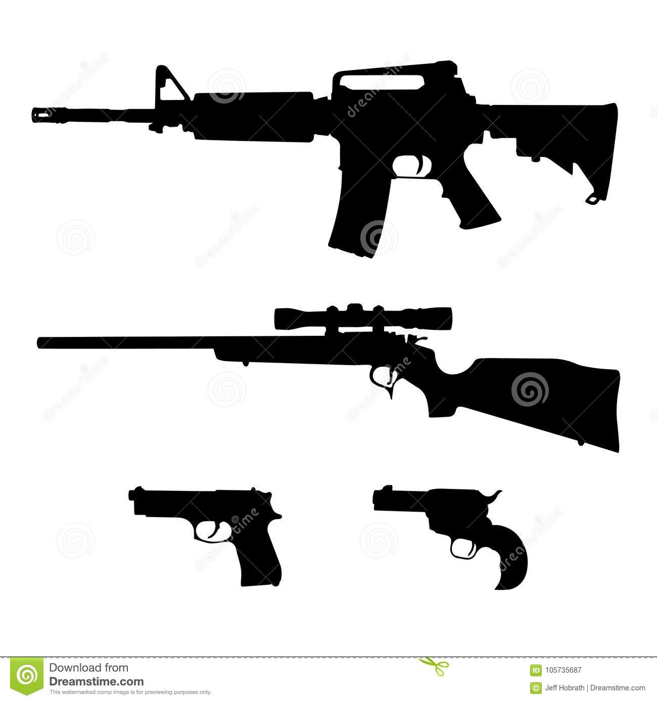 ar 15 style semi automatic rifle bolt action rifle and pistols