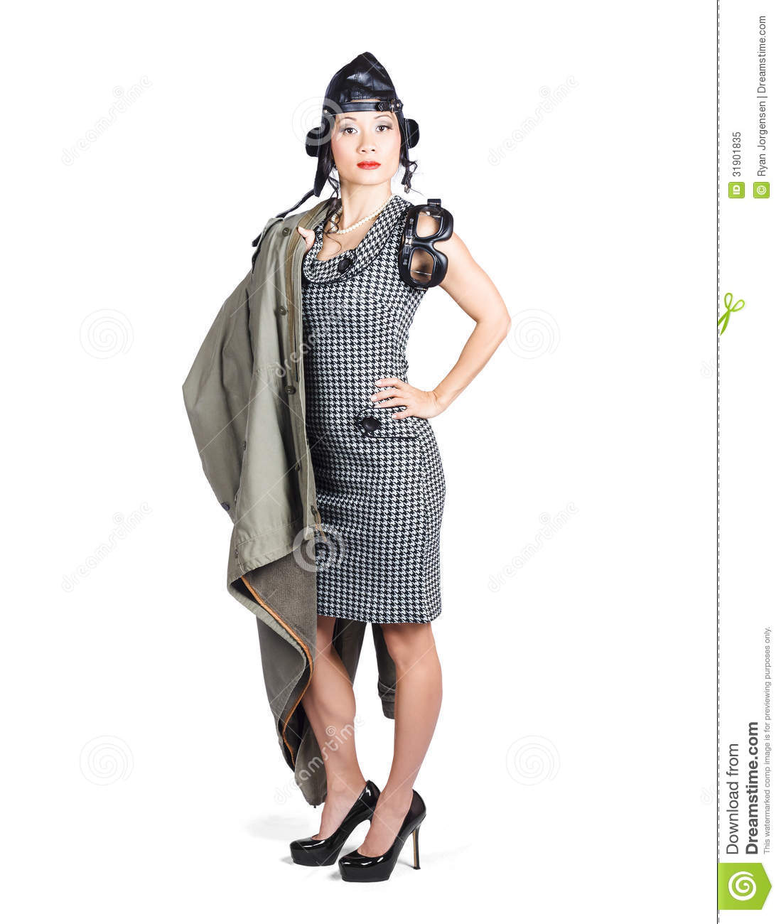 Isolated Asian Pin Up Lady Air Force Style Royalty Free