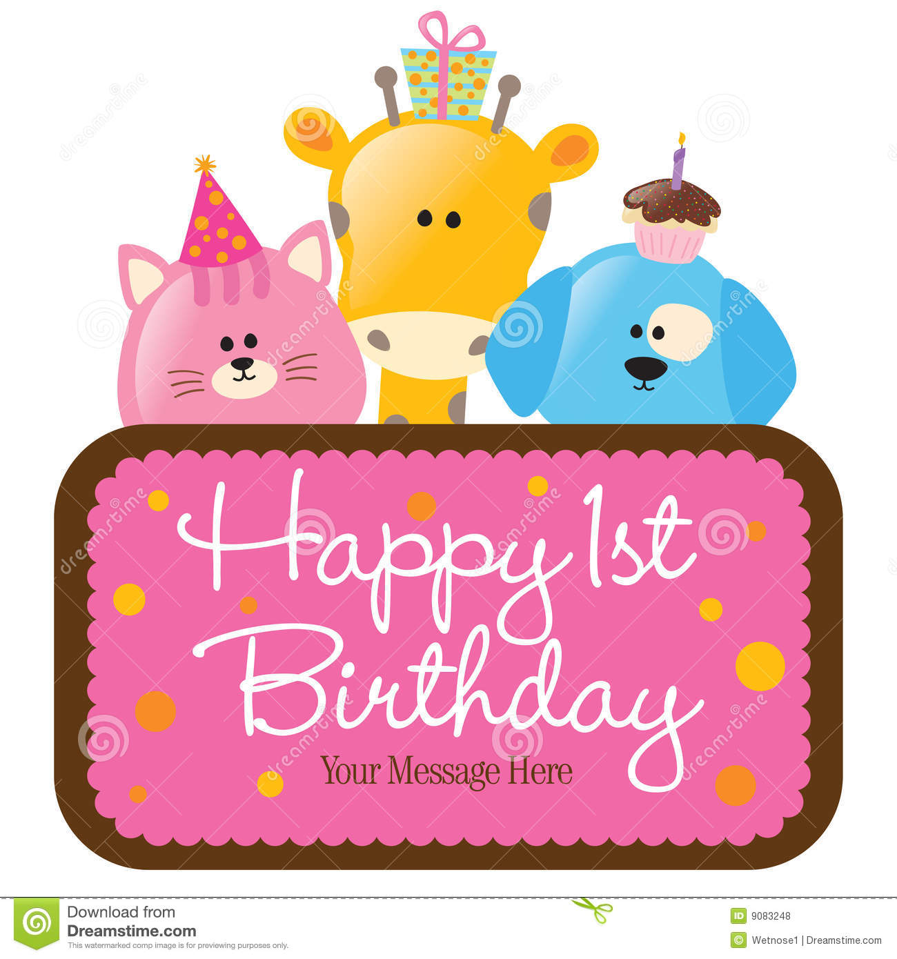 First Birthday Candle With Animals Stock Photo: Happy First Birthday Candle And Animals Isolated Cartoon