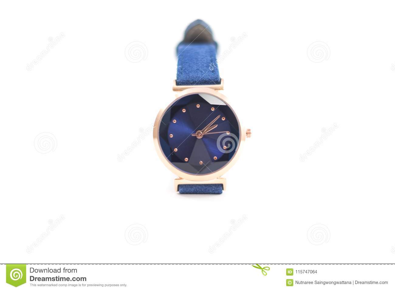 Isolated background businessman wrist watch on white backdrop wi