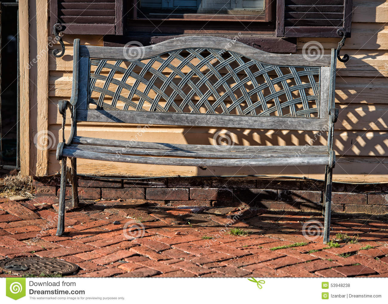 Isolated Bench On Wood Old House Background Stock Photo