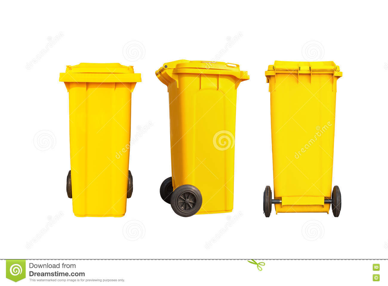 Isolated big yellow garbage bin or trash can with black wheels