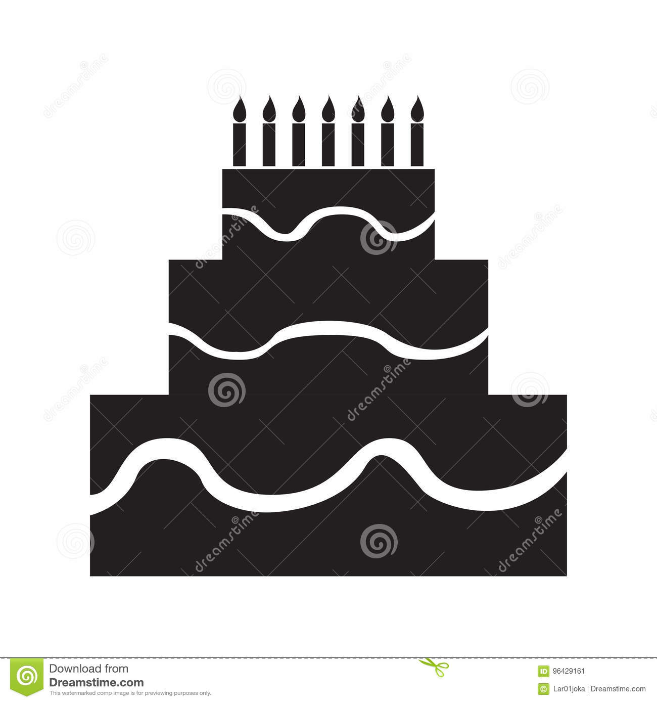 Isolated Birthday Cake Silhouette Stock Vector