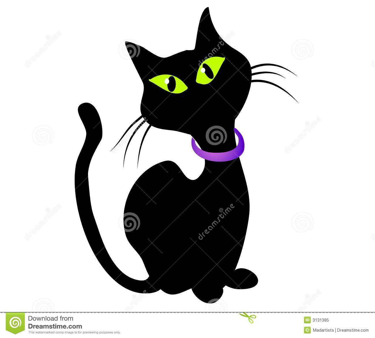 Isolated Black Cat Clip Art Stock Illustration Illustration Of