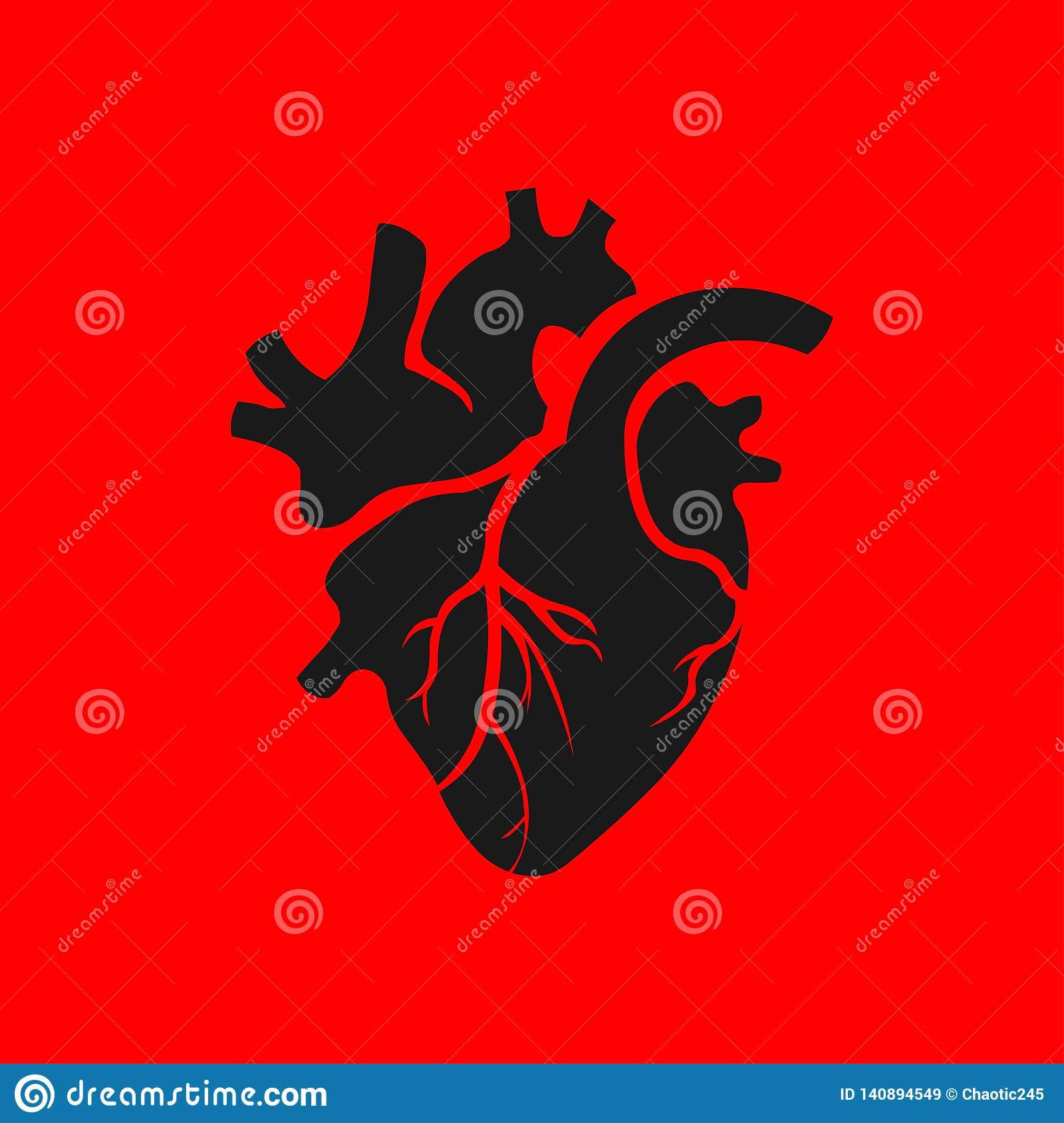 Isolated Black Human Heart Illustration On Red Background
