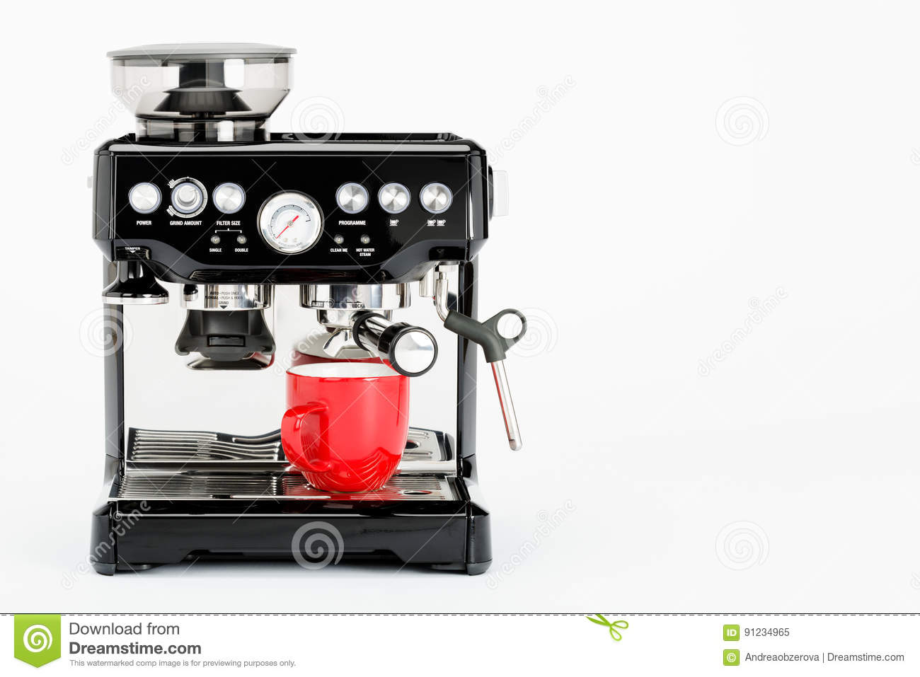 Isolated Black Manual Coffee Maker With Grinder And Red Coffee Mug On A White Background Stock ...