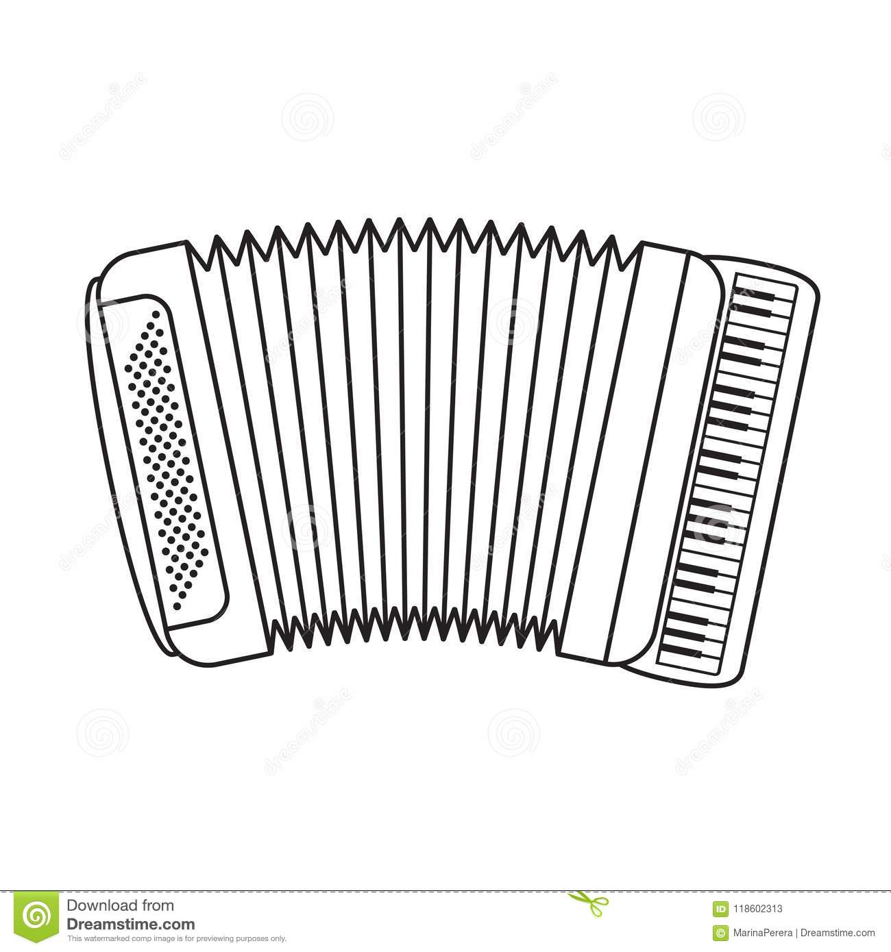 Isolated Black Outline Accordion Stock Vector - Illustration of