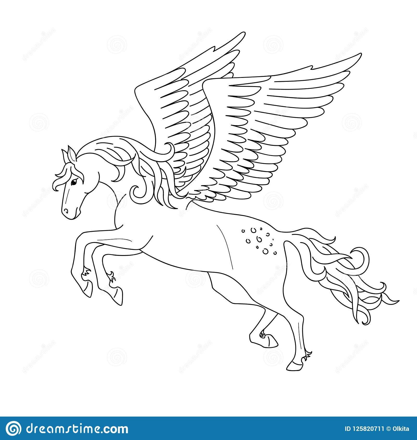 Isolated Black Outline Galloping, Jumping Pegasus On White ...