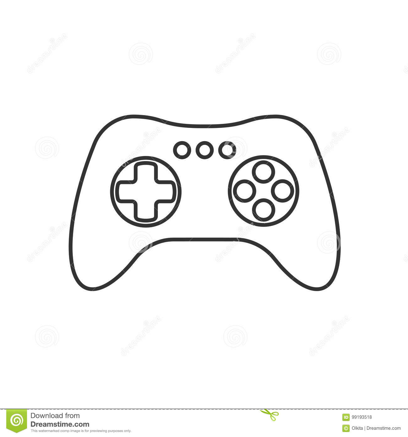 Isolated Black Outline Gamepad, Game Controller, Joystick