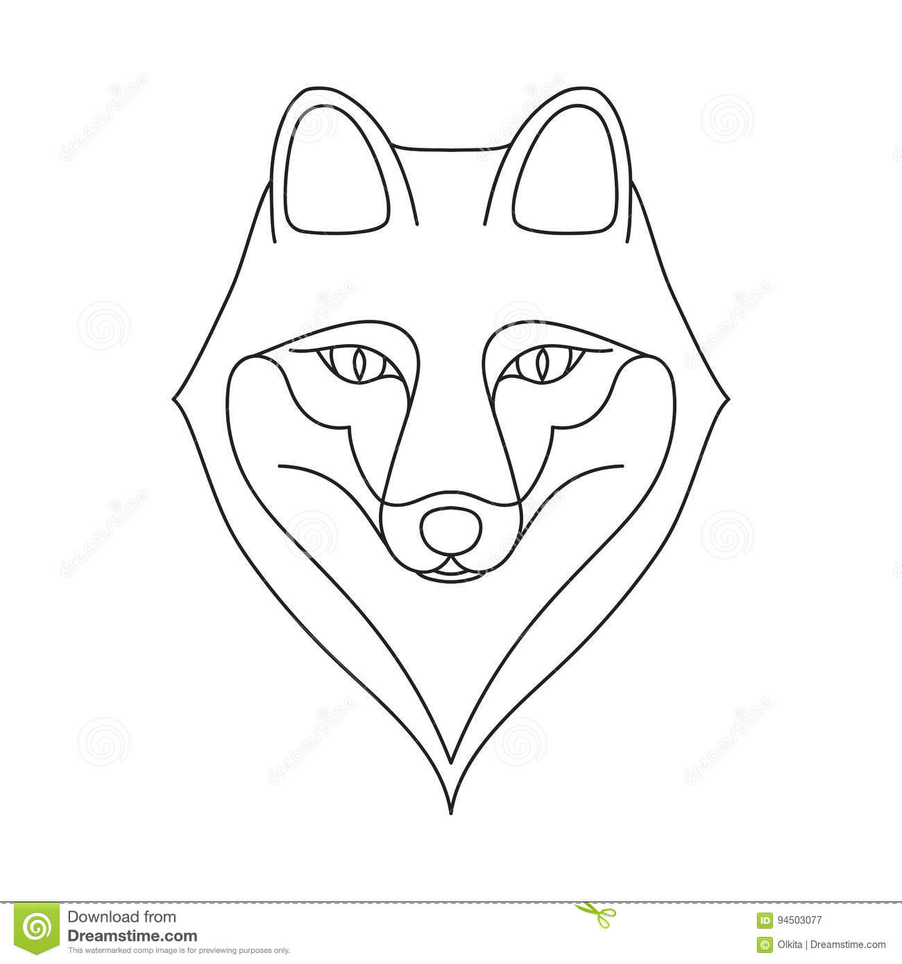 Fox face drawing outline