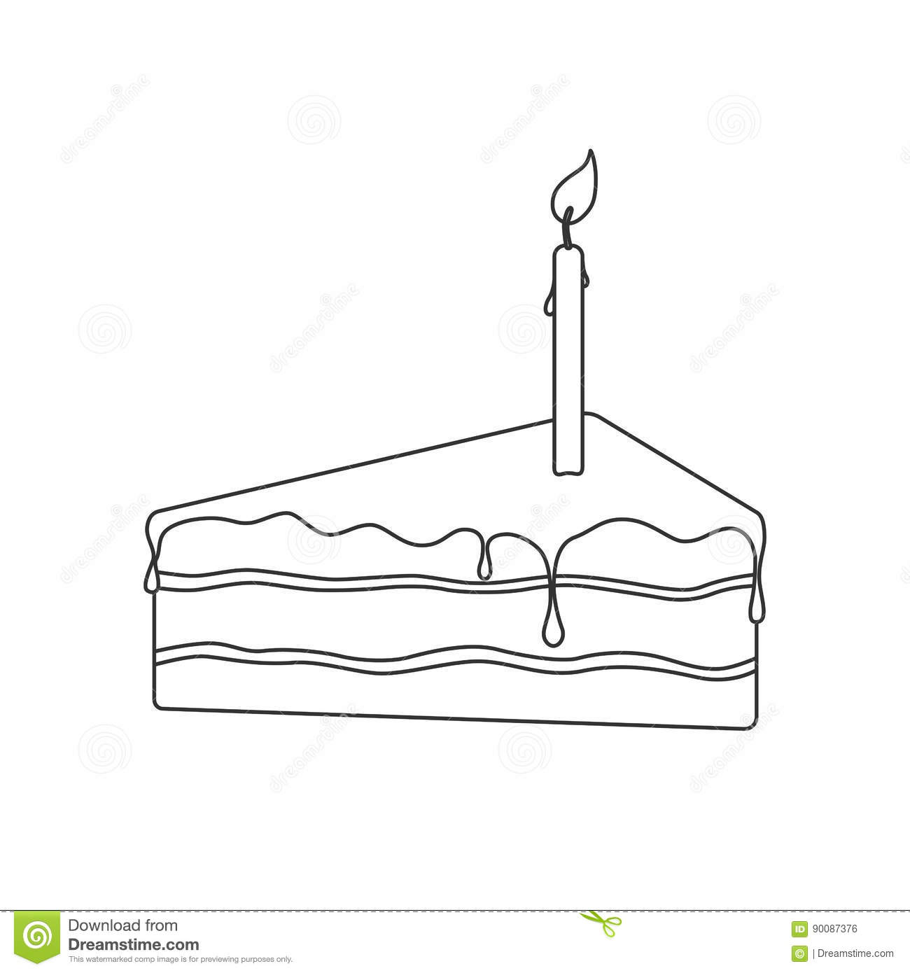 Isolated black outline pie of birthday sponge cake with chocolate isolated black outline pie of birthday sponge cake with chocolate and candle light on white background pooptronica Image collections