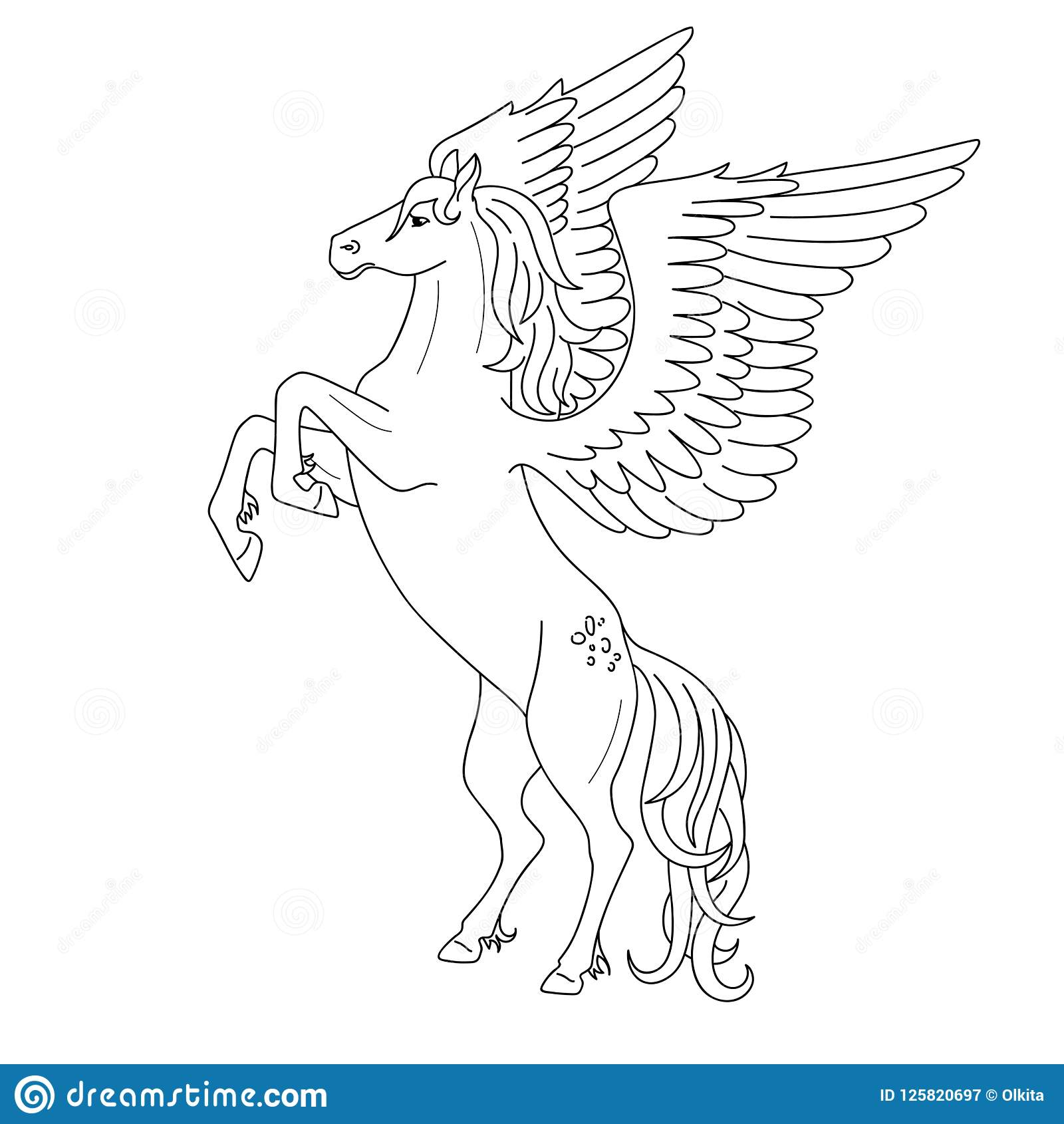 Isolated Black Outline Rearing Pegasus On White Background. Side ...
