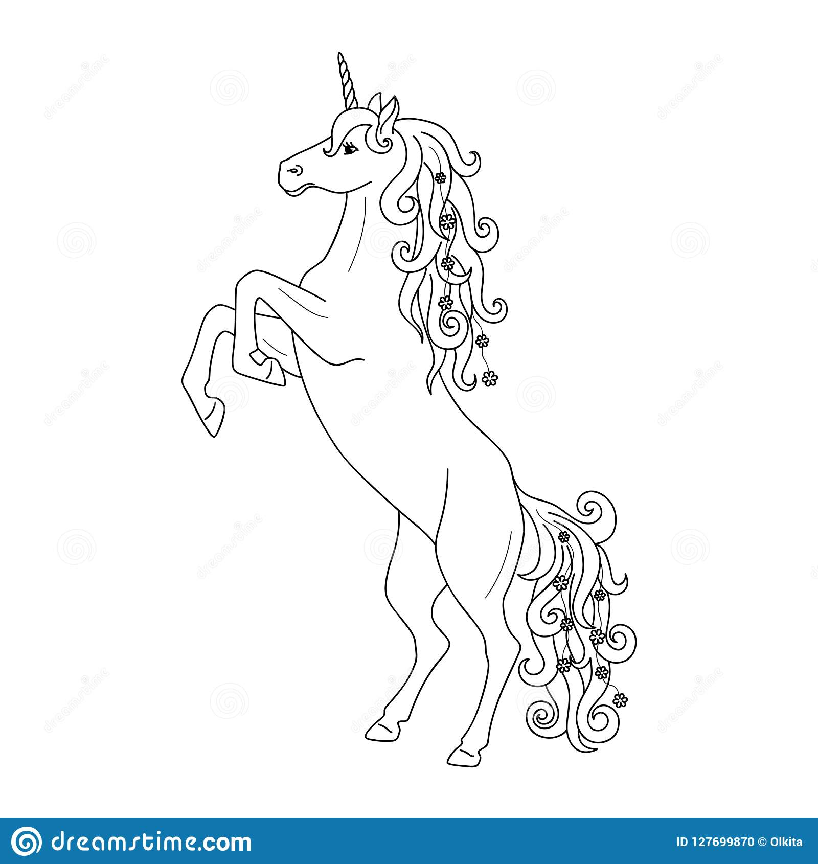Isolated black outline rearing unicorn on white background. Side view. Curve lines. Page of coloring book.