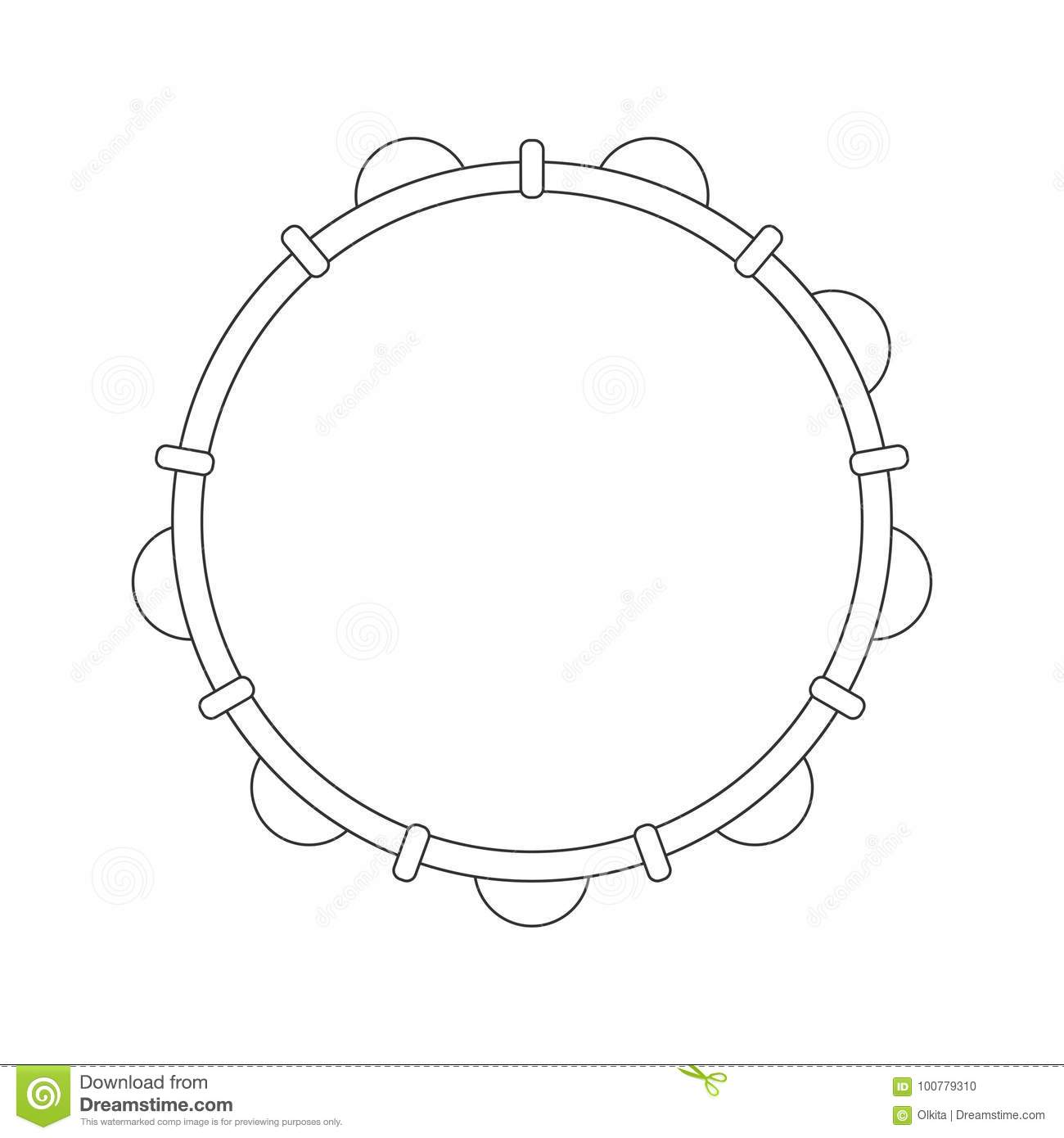 Isolated Black Outline Tambourine Pandeiro On White Background