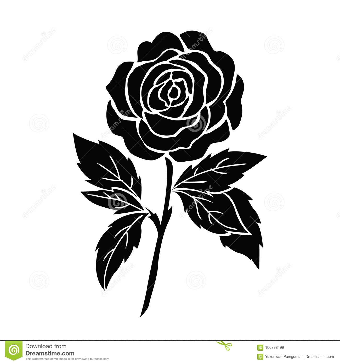 Black Silhouette Of Rose. Vector Illustration. Cartoon ...
