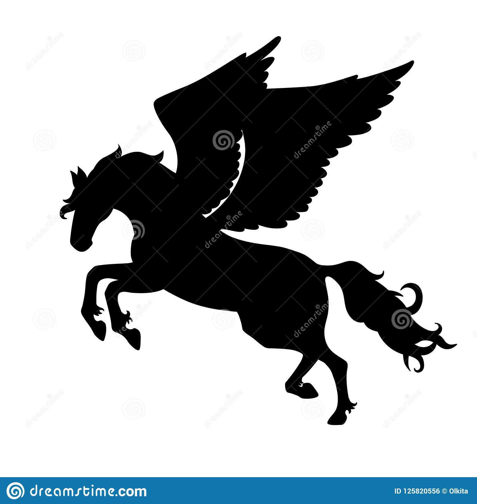 Isolated Black Silhouette Galloping Jumping Pegasus On White Background Side View Of Horse With Wings Stock Vector Illustration Of Horse Fairytale 125820556